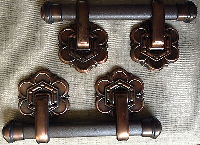 Set of 4 Vintage Dark Copper finish  Metal Casket Coffin Handles Funeral