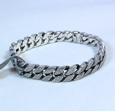 "David Yurman Men's Stippled Sterling Silver Curb Chain Bracelet 8.5"" $1050 NWT"