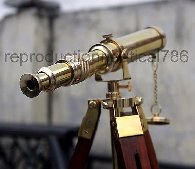 Collectible Desk Solid Brass Telescope With Wooden Stand Nautical Ship Telescope