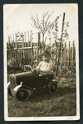 C1930s Photo Card: Small Boy in Pedal Car