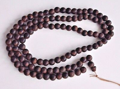 Antique Chinese China Qing Agarwood Chen Xiang Necklace Prayer Bead Buddhist