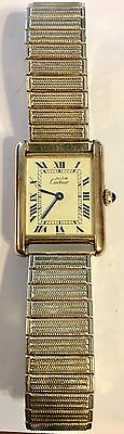 VINTAGE CARTIER PARIS VERMEIL ARGENT 925 CAESARS PALACE 25 Year SERVICE WATCH