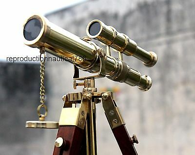 Vintage Solid Spy Glass Telescope Maritime Nautical Wooden Stand Decorative Gift