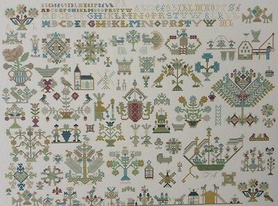 EXCEPTIONAL DUTCH ANTIQUE SAMPLER CROSS STITCH PATTERN CHART Friesland 1716