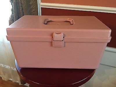 Vintage Wilson Wil-Hold Plastic Sewing Box Caddy  With Tray Pink 12.5x6.5""