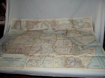 Vintage 1954 National Geographic map of Northern Africa 41x29 large poster size