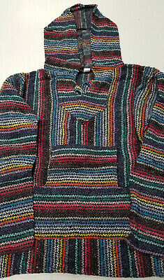 Mexican Baja Hoodie, Surfer, Pullover, Poncho, Hippie, Jerga, Adult S, Unisex