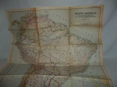 1950 National Geographic map of South America brazil argentina peru colombia