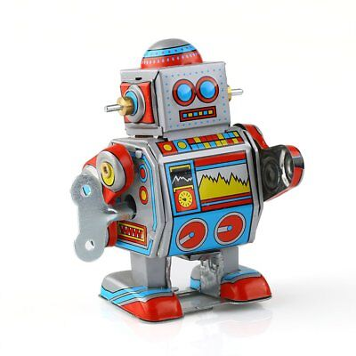 New Mini Multi-colored Wind-up Metal Robot Model Toy Boys Xmas Gift Collection