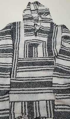 Mexican Baja Hoodie, Surfer, Pullover, Poncho, Hippie, Jerga, Adult M, Unisex