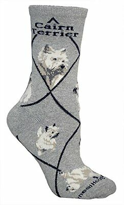 Cairn Terrier Dog Breed Gray Lightweight Stretch Cotton Adult Socks