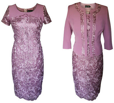 Lilac Dusty Pink Mother Of The Bride Groom Outfit 2 Piece Jacket Dress Size 14