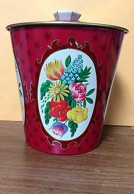 Vintage English Tea Tin Ornate Floral Still Life Pattern Made In England