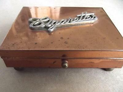 """Vintage Midcentury Solid Copper Footed  """"CIGARETTES"""" Box Brass Lettering on Lid"""