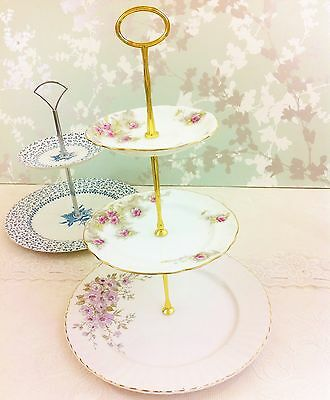 Vintage 3 Tier Pink Flower Cake Stand, Adderley / Royal Standard