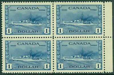 EDW1949SELL : CANADA 1942-43 Scott #262 Blk of 4 Truly XF MNH PO Fresh Cat $400+