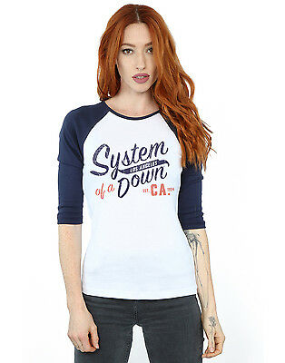 System Of A Down Women's Los Angeles 3/4 Sleeve Baseball Shirt