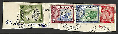 Pitcairn Island Stamps - 1957 - On piece - Includes 2s6d high value
