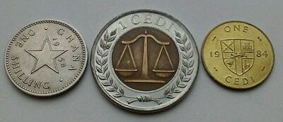 Ghana 1 Shilling 1958, 1 Cedi 1984,2007. Set 3 coins. One year issue only.