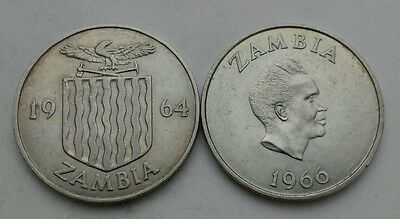Zambia 1 Shilling 1964,1966. KM#2, KM#7. One dollar coin. Crowned Hornbill. Bird