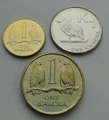 Zambia 1 Kwacha 1989,1992,2012. KM#26,38. One dollar coin. Falcons. Birds.