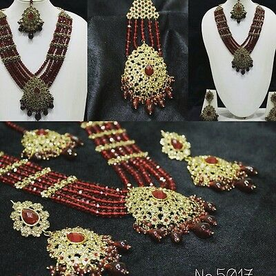 New Bollywood Style Party Wear Indian Long Necklace Set 2 Colours Bead Set