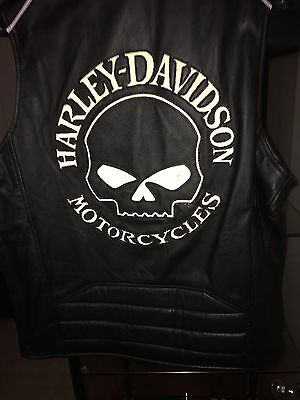 Harley Davidson Leather Vest Reflective Skull 98132-08Vm Mens Sz Lg/xl