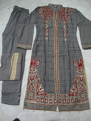 Designer Inspired Ready Made Stitched Embroidered Linen Suit Grey 2017