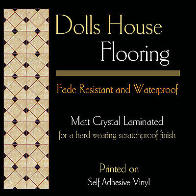 Floor 7, A4 Dolls House Tile Flooring, on Card or Self Adhesive Vinyl + Laminate