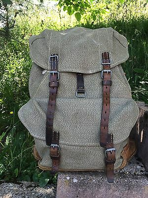 Vintage Swiss Army Rucksack Backpack Salt & Pepper Canvas Leather 1963