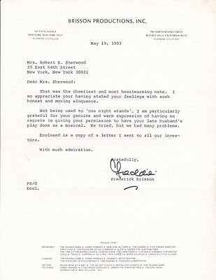 SIGNED LETTER by Producer FREDERICK BRISSON to ROBERT SHERWOOD'S WIDOW re. PLAY