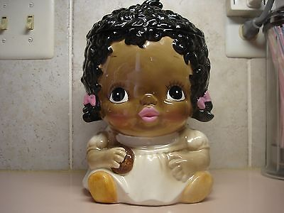 Black Americana Little Girl Cookie Jar White Dress Ca. 1978 Made for Sears Japan