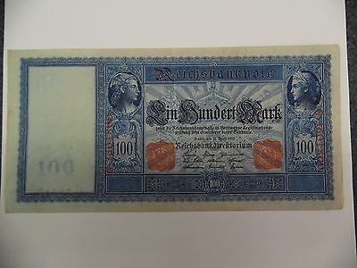 1910 Germany Large Note 100 Mark  Dated 21 April 1910 About Uncirculated