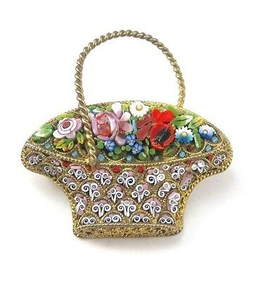 Antique Vintage Micro Mosaic Basket Flowers Gilt Pin Italy