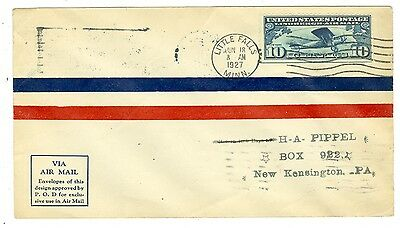 1927 Lindbergh C10 First Day Cover Fdc Little Falls,mn.  6/18/27