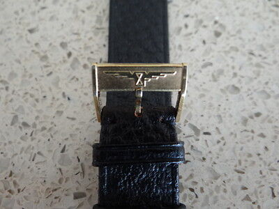 Vintage Leather Black Strap 18Mm With Longines Gold Plated Buckle