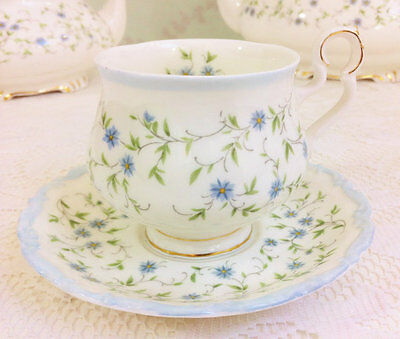 "Demi Tasse Tea Duo "" Caroline "" Royal Albert, For Get Me Not"