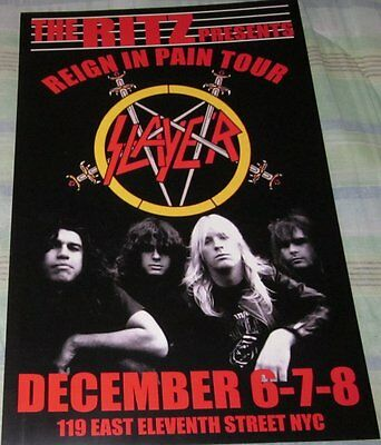 Slayer 1986 Reign In Pain Tour Replica Concert Poster W/top Loader