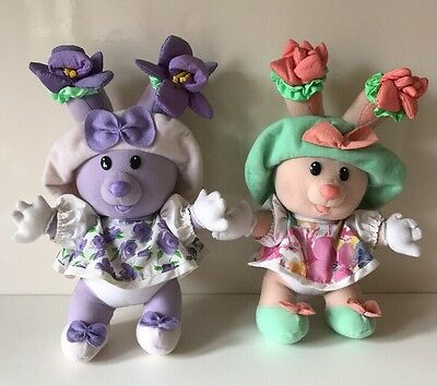 Vintage Tea Bunnies Plush Soft Toy, Tulip Blossom & Candy Violet,Tomy, RARE, 15""