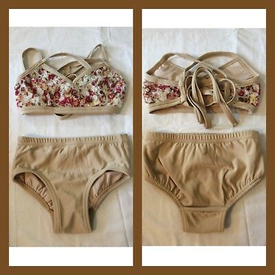 Beautiful Details Dancewear 2 Piece,  Briefs and Top with tie back waist In Nude