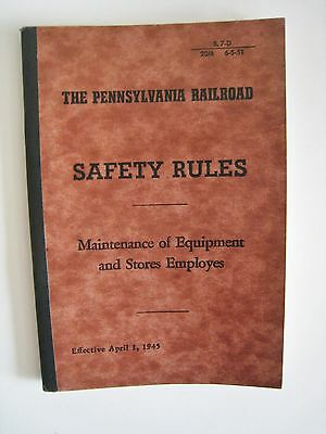 Vintage 1945 Pennsylvania Railroad PRR Safety Rules Maintenance Equipment Book