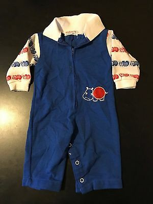 Vintage 70s 80s Health-Tex Hippo Animal 6 Months Zip Up Romper One Piece