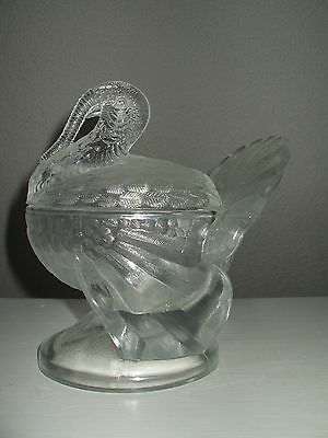 L. E. Smith Signed Crystal  Glass Covered Turkey Candy Dish 1960's