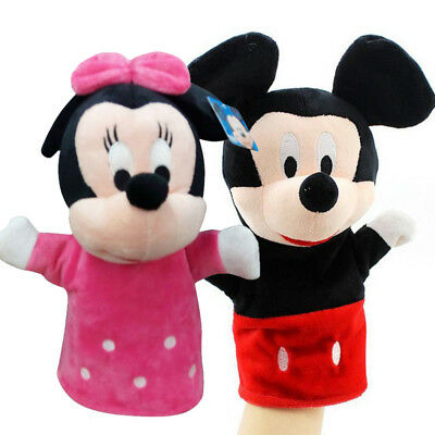 Mickey & Minnie Mouse Hand Glove Cartoon Puppets Soft Push Kids Toys Dolls Gifts