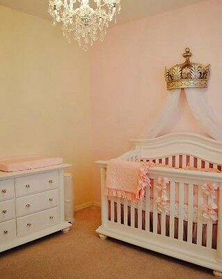Girls Boys Nursery Large Luxury Crib Canopy Prince Princess Cot Bed Crown Drapes