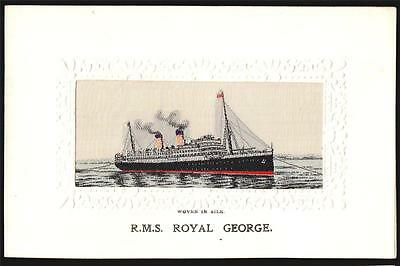 "Woven Silk.cunard Line Ship R.m.s""royal George"" 1914  Postcard"