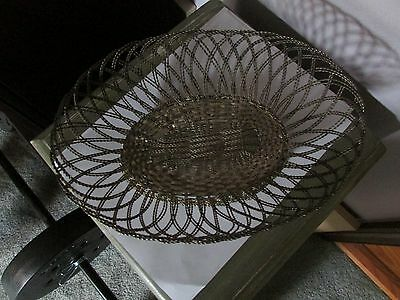 Vintage Silver Plate Handmade Woven Wire Mesh Basket