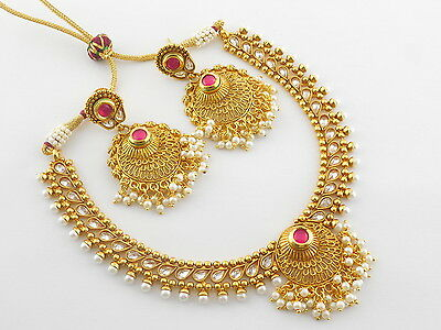 Indian Gold Plated Jewelry Ethnic Necklace Earrings Traditional Party Set P73D