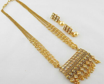 Indian Traditional Gold Tone Bollywood Polki Necklace Earrings Jewelry Set 52D