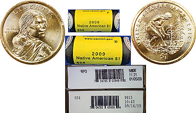 2009-P&D BU $1 Sacagawea/Native American Dollar Mint Roll Set In Sealed Boxes